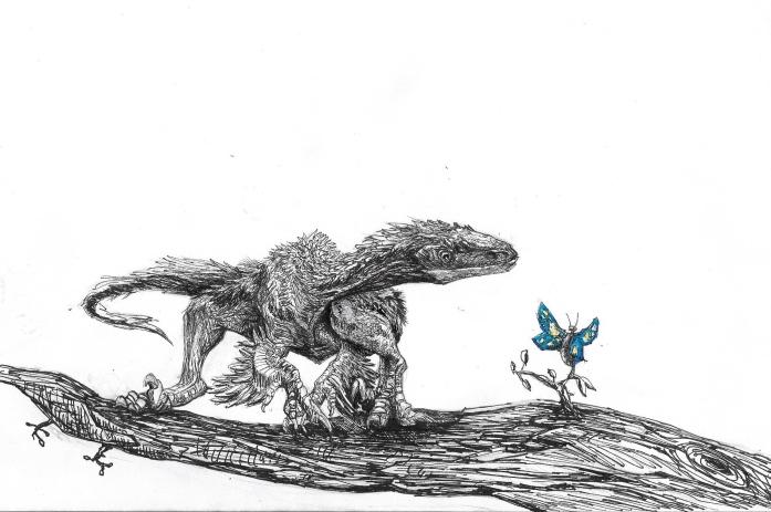 Raptor et Papillon Inktober - Copie Modifiée sur Paint 2